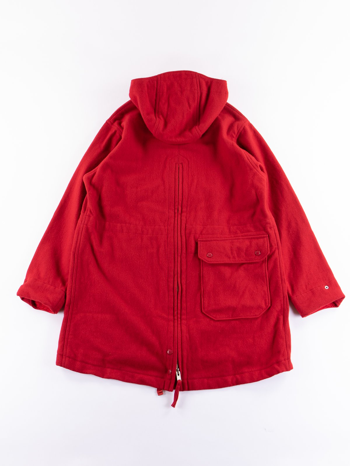 Red Wool Melton Over Parka - Image 5