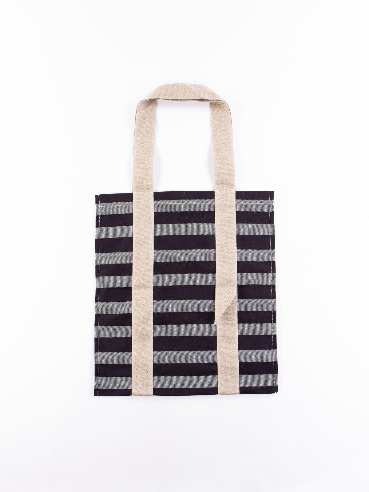 Bold Indigo Weaver's Blanket Stripe One–Strap Tote Bag - Image 1