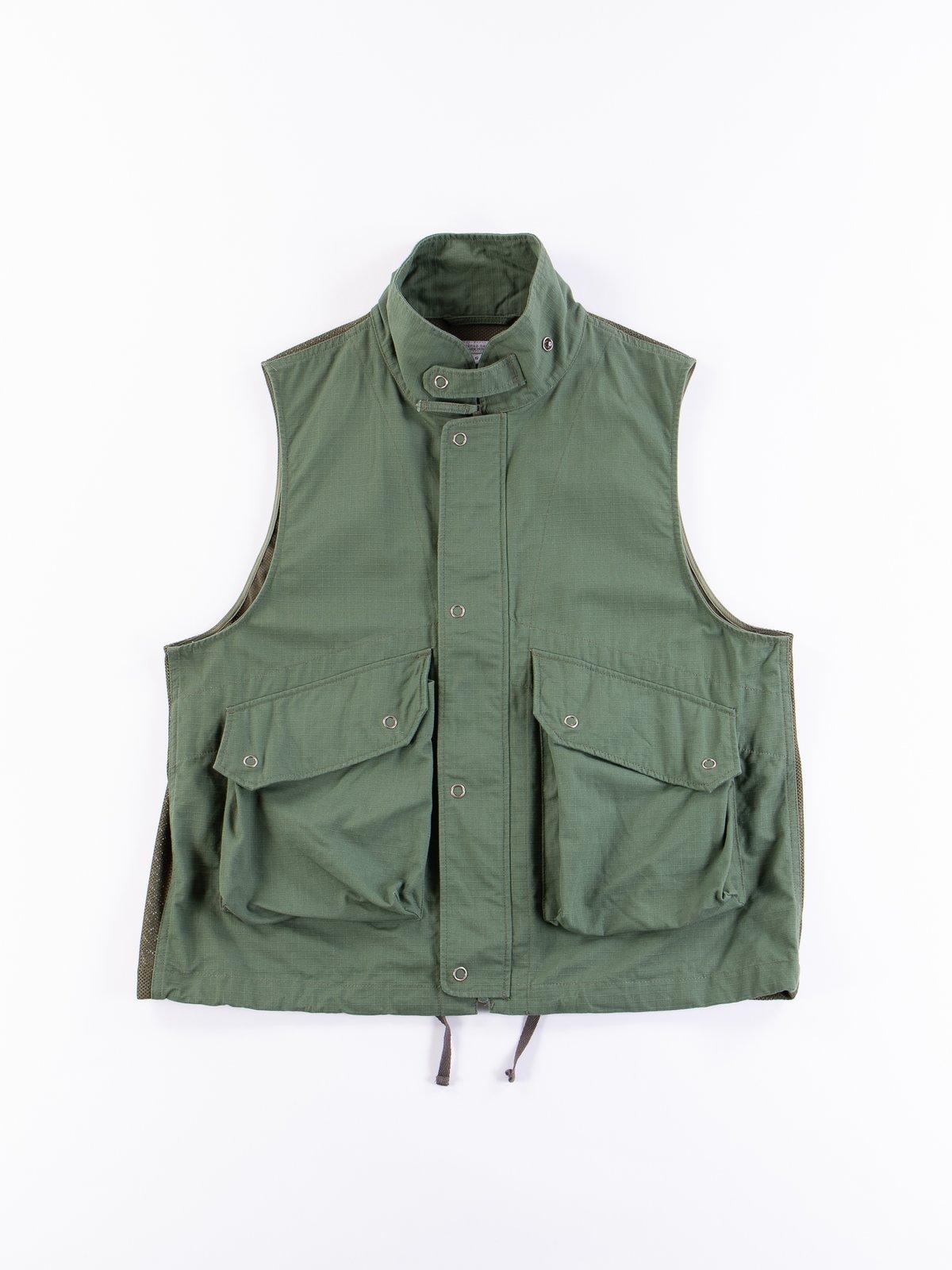 Olive Cotton Ripstop Field Vest - Image 1