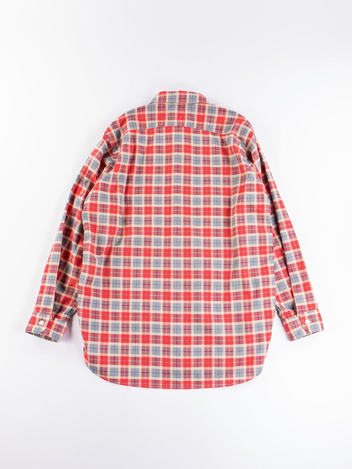 Red/Beige Cotton Printed Plaid Work Shirt - Image 6