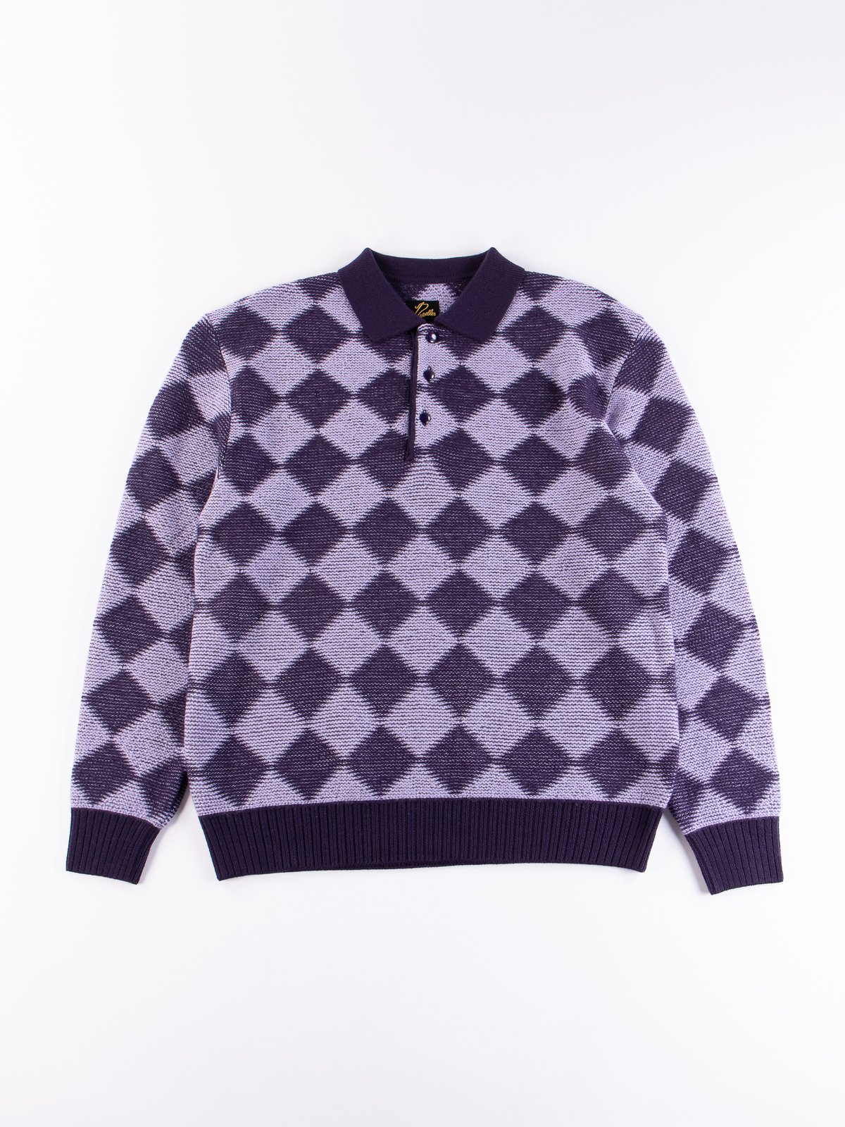 Purple Checkered Polo Sweater - Image 1