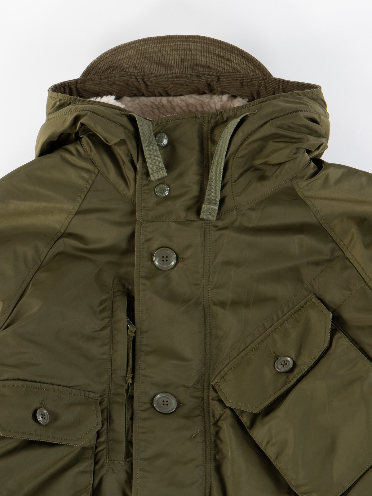 Olive Flight Satin Nylon Field Parka - Image 4