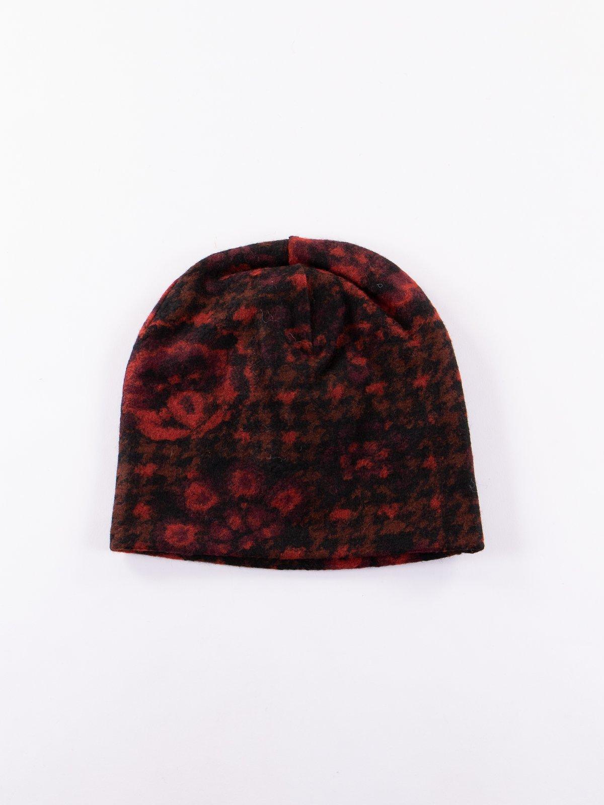 Black/Red/Grey Floral Glen Knit Long Beanie - Image 1