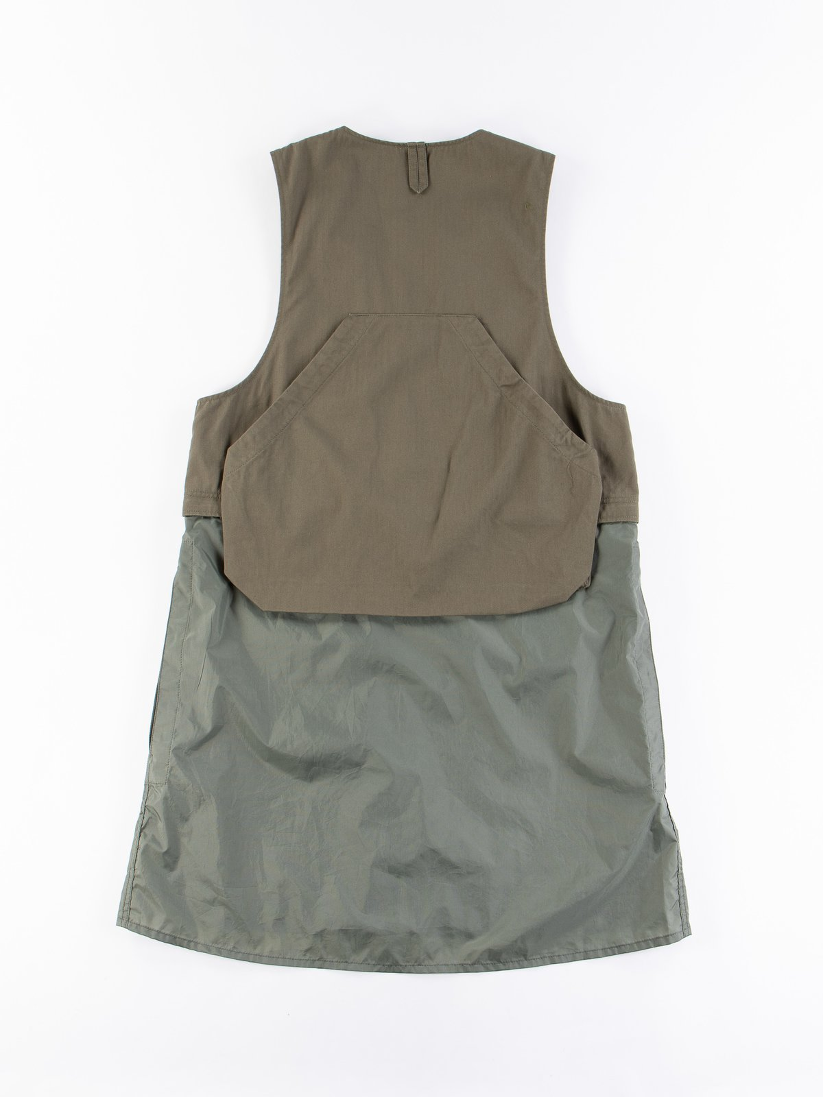 Olive Cotton Herringbone Twill Long Fowl Vest - Image 7