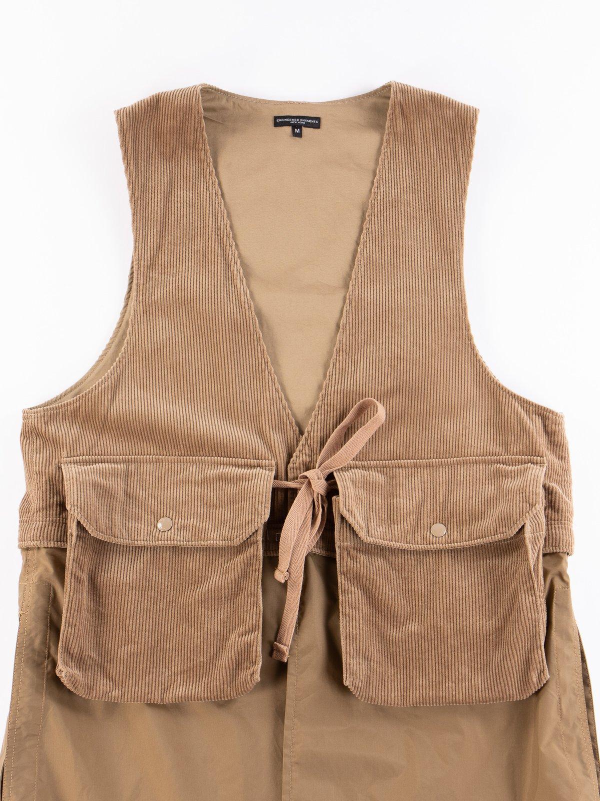 Khaki 8W Corduroy Long Fowl Vest - Image 3