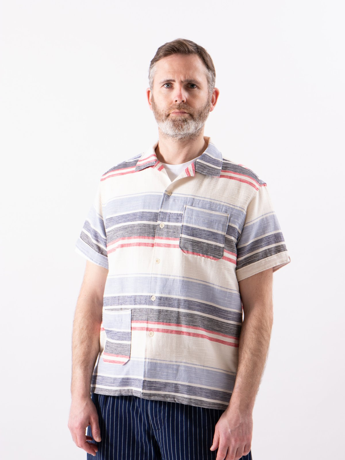 Natural/Red/Blue Horizontal Slab Camp Shirt - Image 2