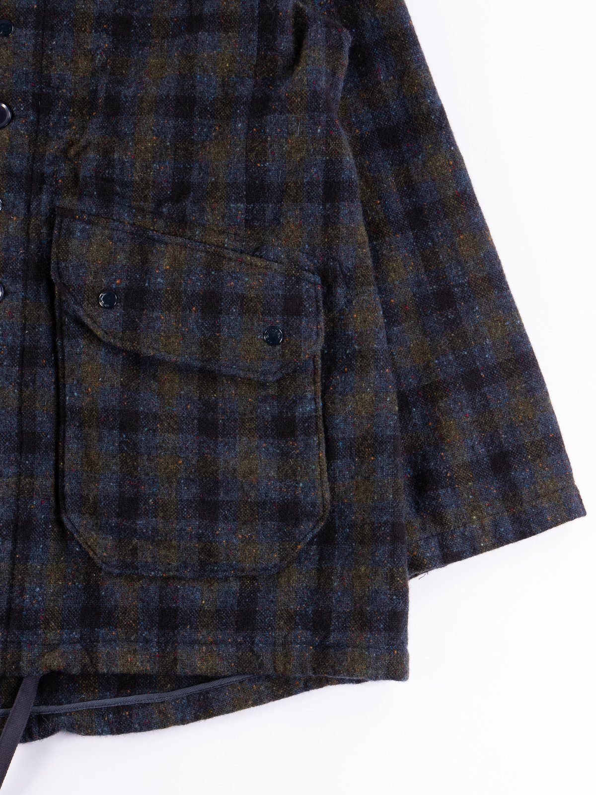 Navy Check Donegal Wool Tweed Madison Parka - Image 5