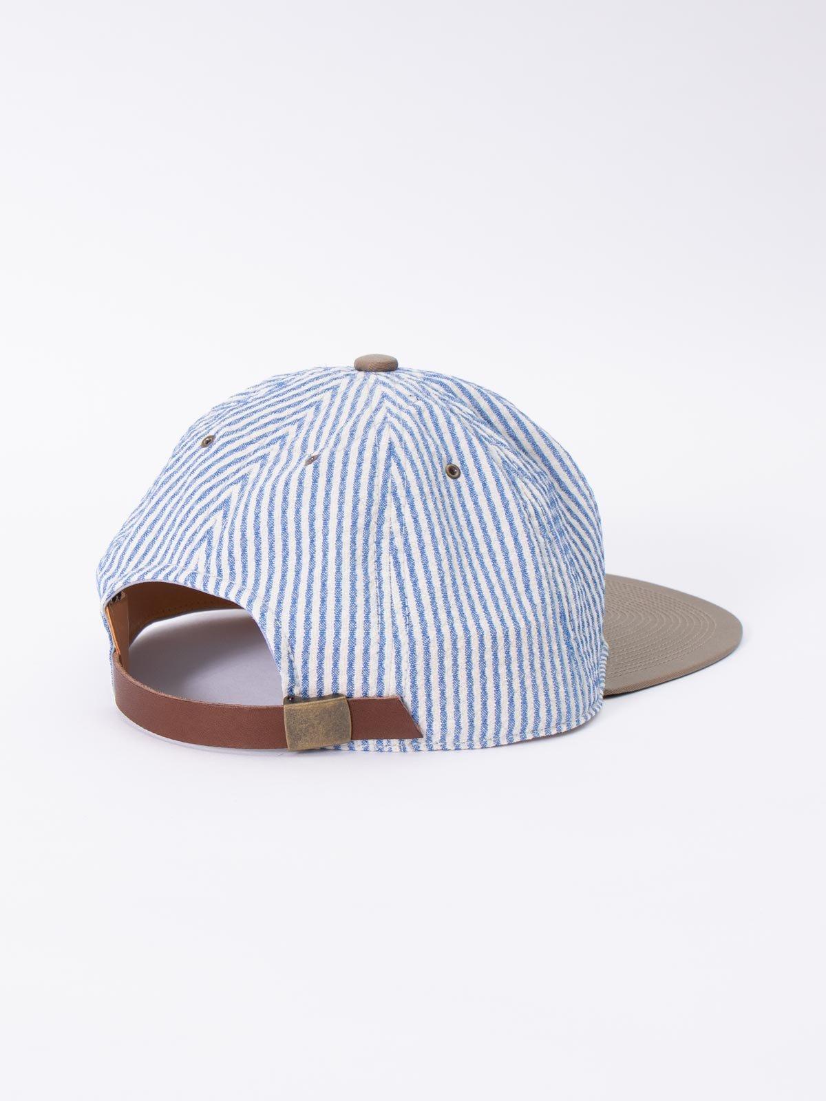 "NAVY/WHITE ""CANONICO"" SEERSUCKER CAP - Image 2"