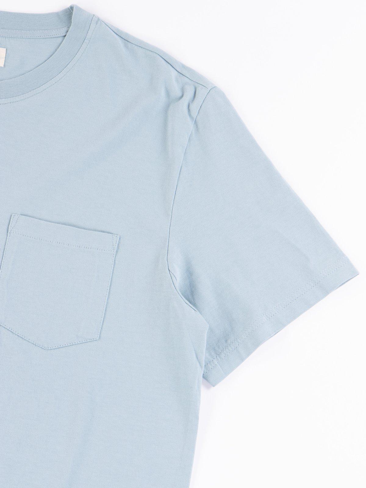 Pale Blue Good Basics CTP01 Pocket Crew Neck Tee - Image 4