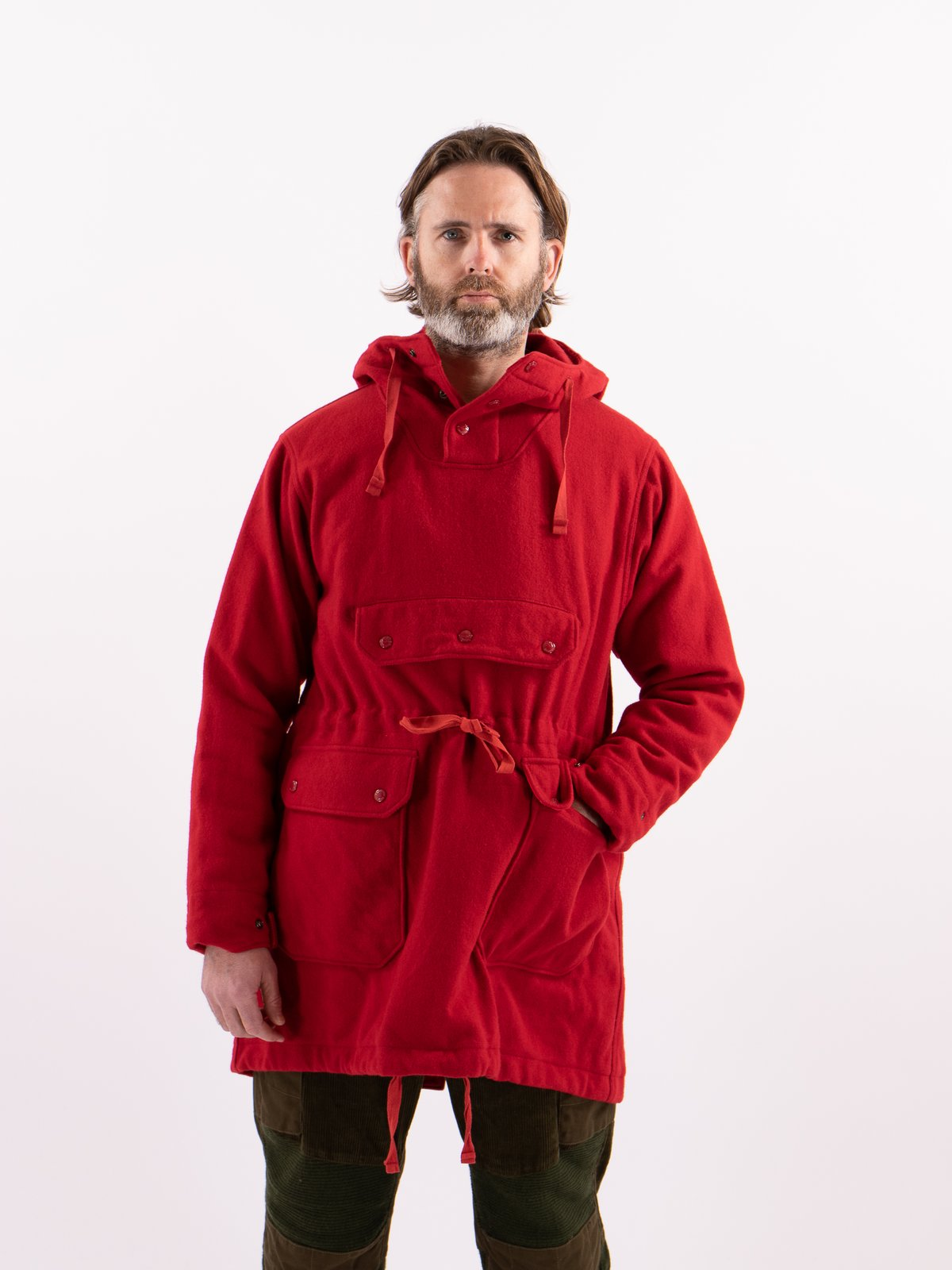 Red Wool Melton Over Parka - Image 2