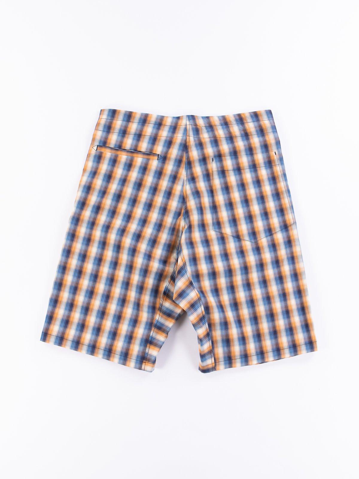 Blue/Orange Plaid Oxford Vancloth Drop Crotch Shorts - Image 4
