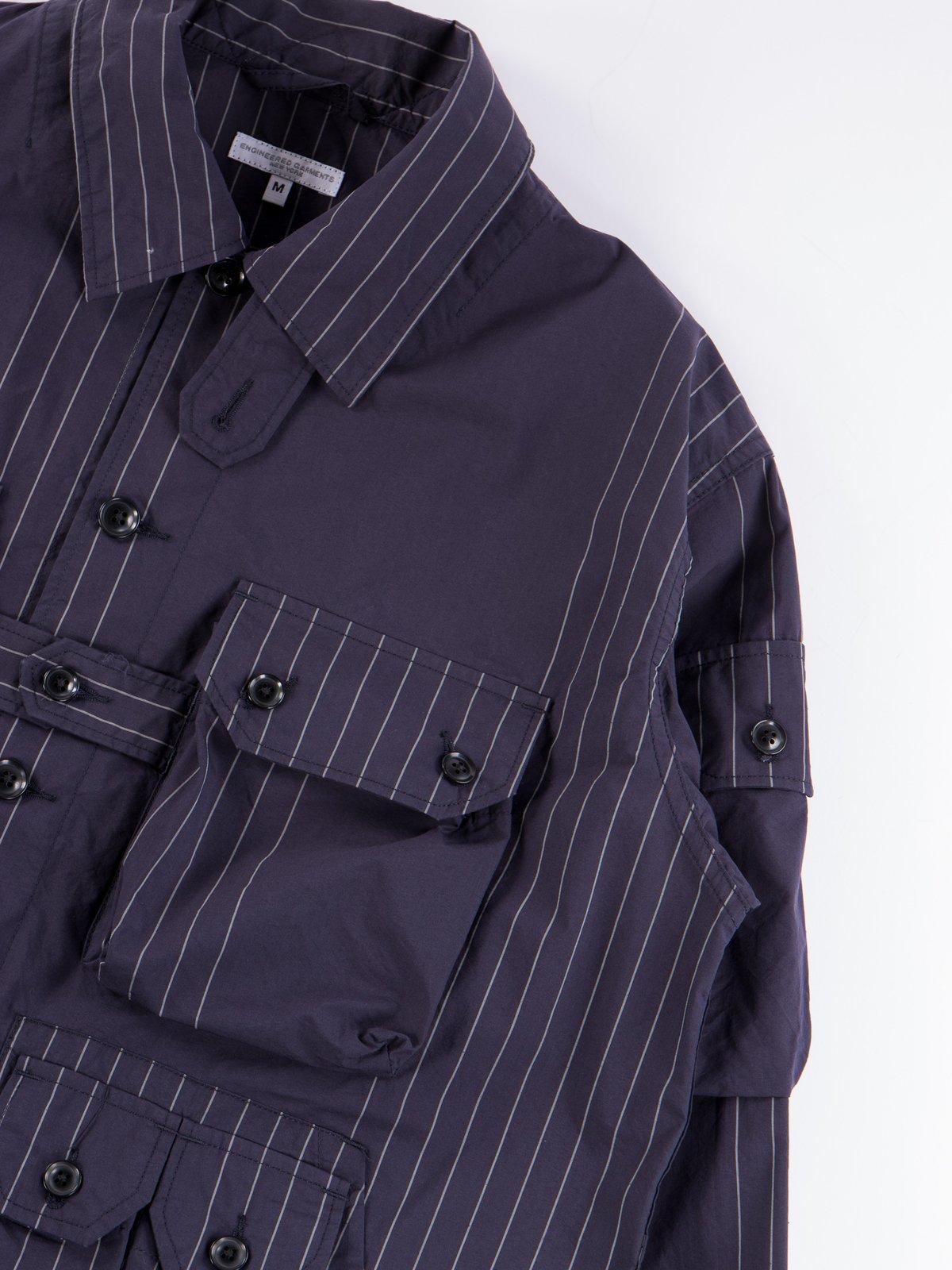 Dark Navy Nyco Gangster Stripe Explorer Shirt Jacket - Image 5