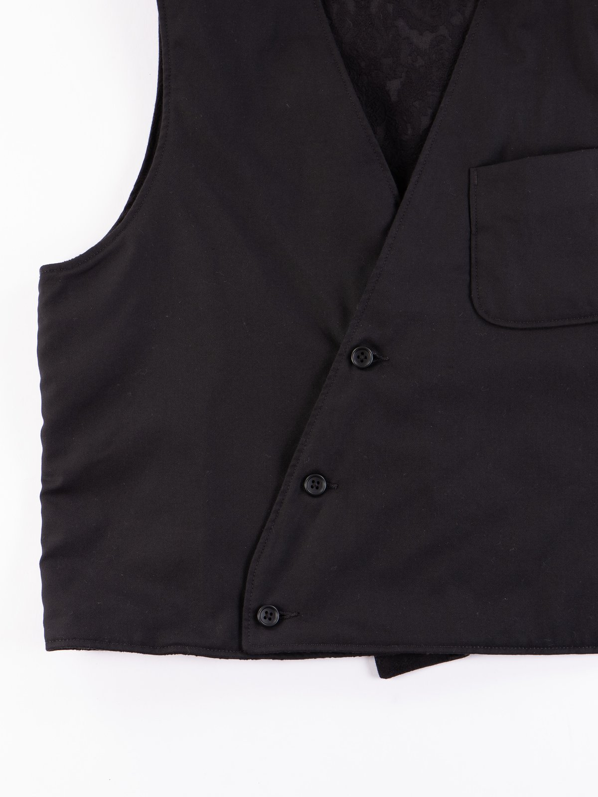 Black Worsted Wool Gabardine Reversible Vest - Image 5