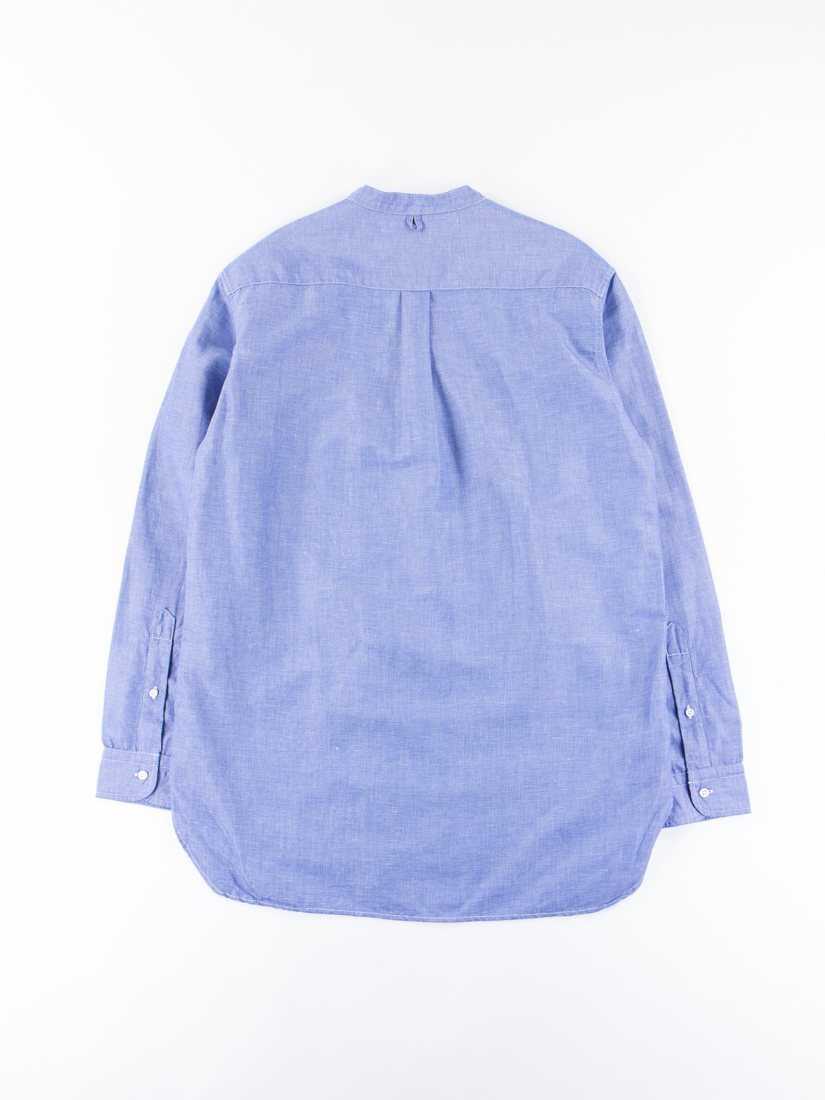 Blue End on End Banded Collar Shirt - Image 4