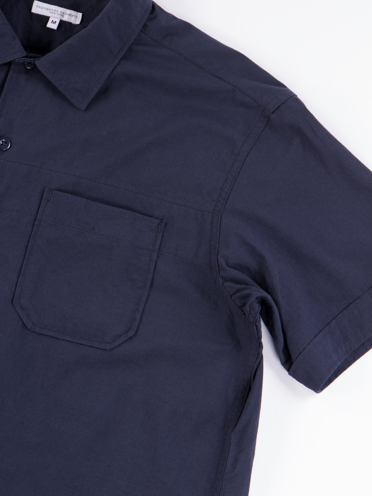 Navy Solid Cotton Lawn Camp Shirt  - Image 4