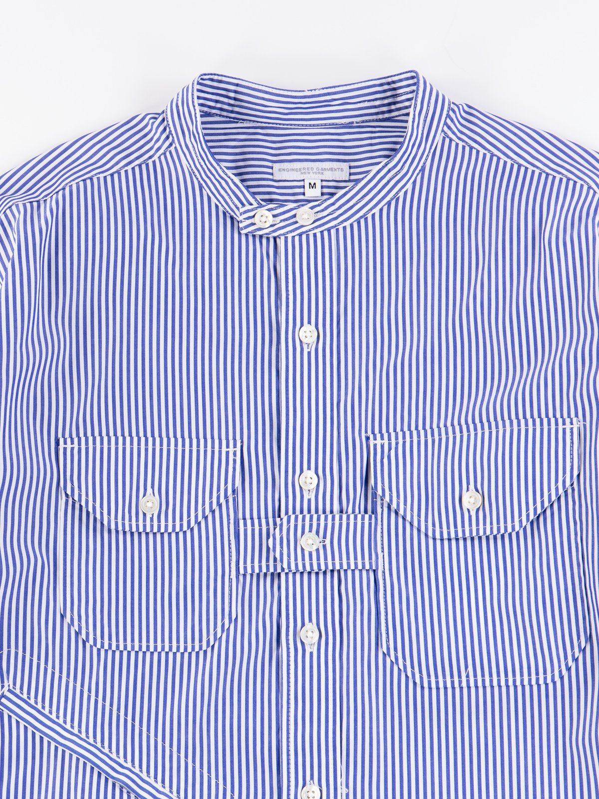 Blue/White Candy Stripe Broadcloth Banded Collar Shirt - Image 3