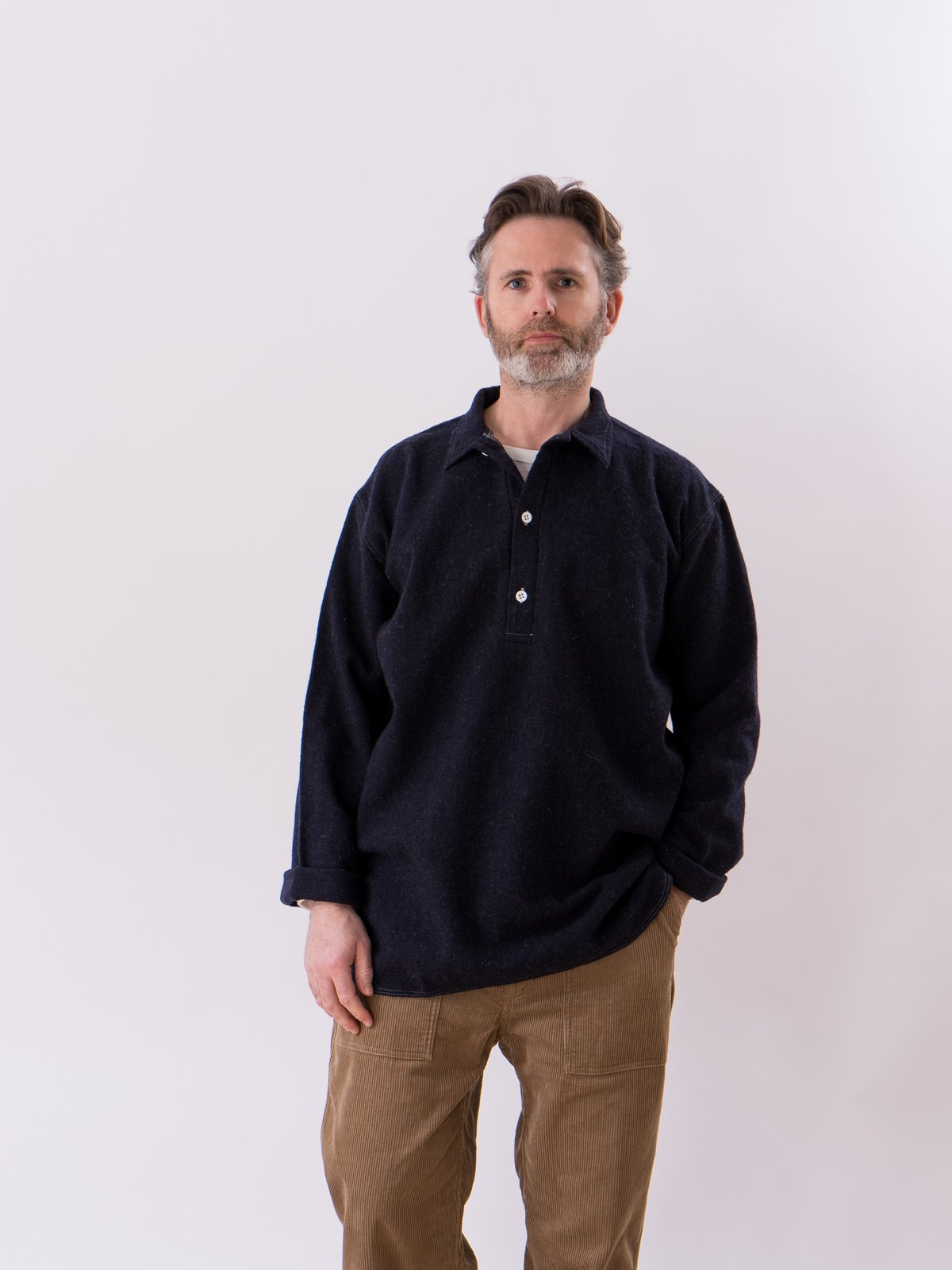 Navy Weavers Stock Pullover Tail Shirt - Image 2