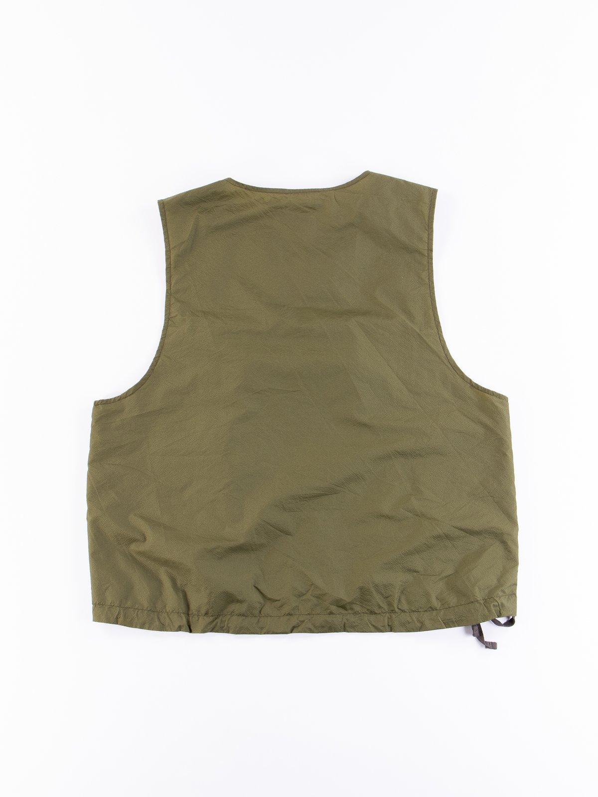 Olive Nylon Micro Ripstop Cover Vest - Image 5