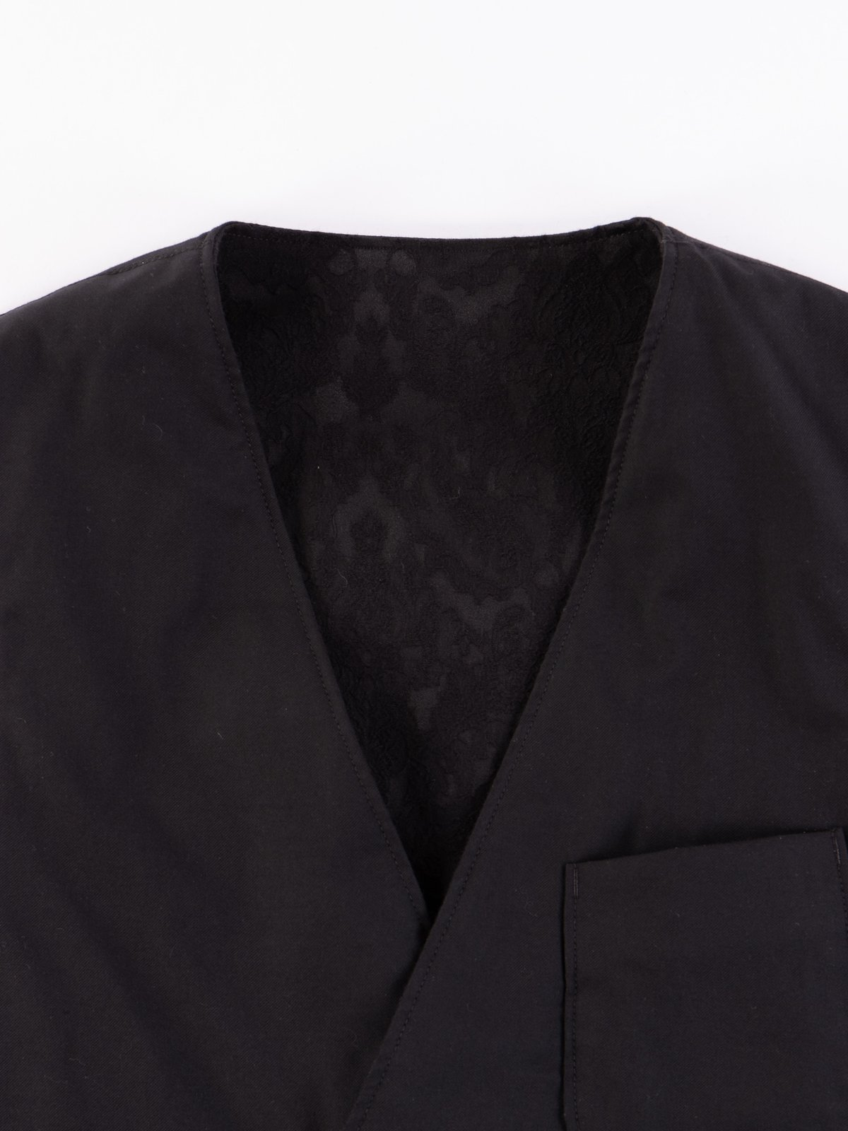 Black Worsted Wool Gabardine Reversible Vest - Image 3
