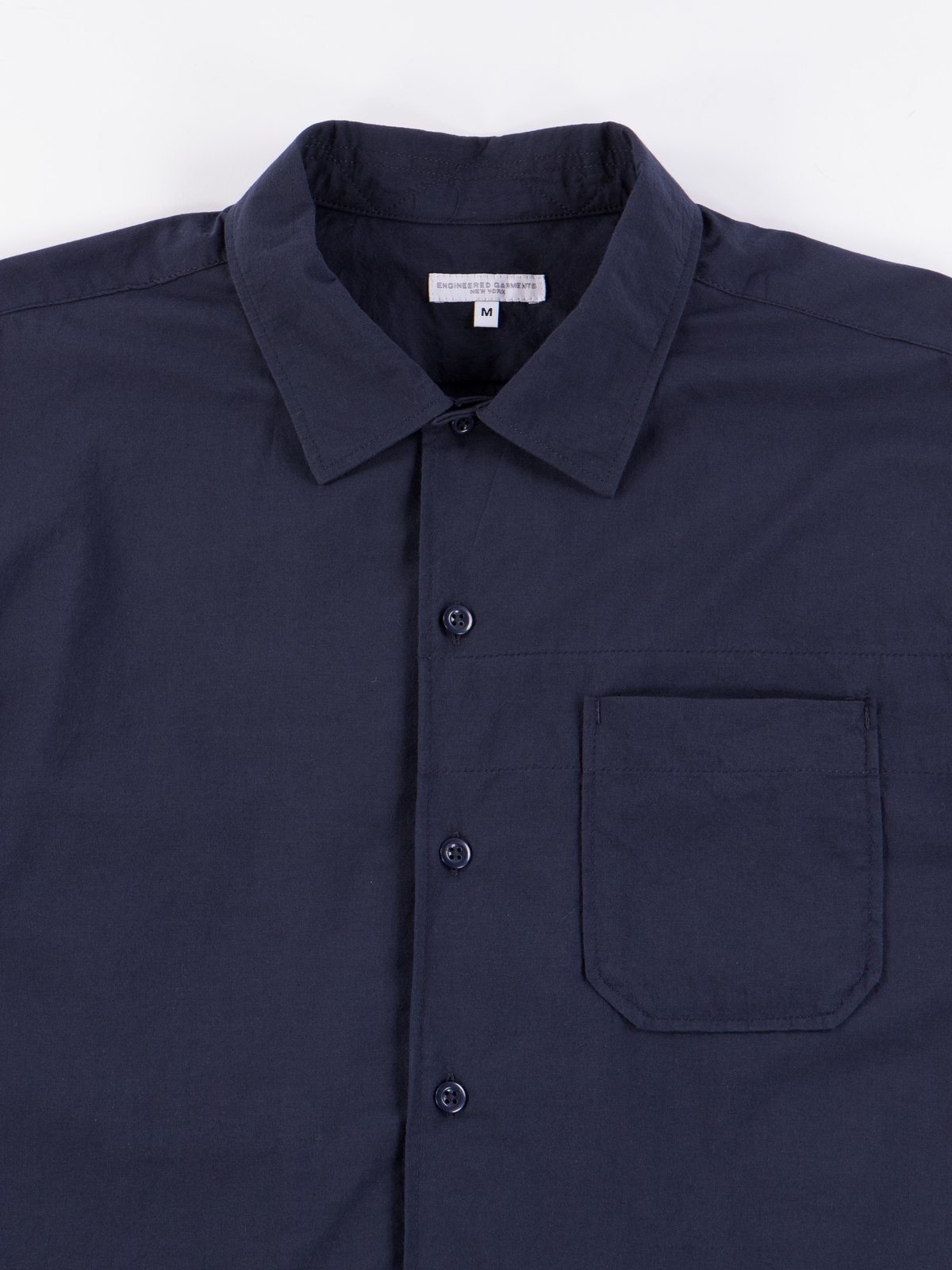 Navy Solid Cotton Lawn Camp Shirt  - Image 3
