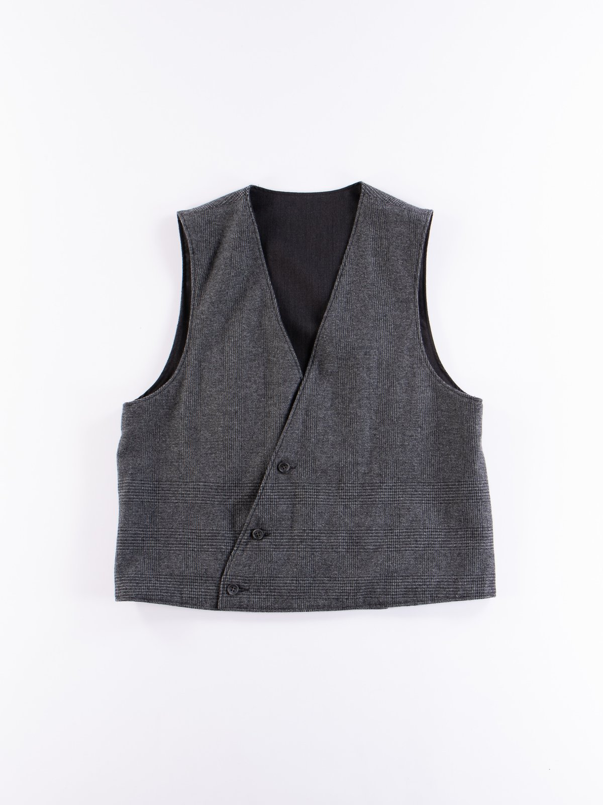 Charcoal Worsted Wool Gabardine Reversible Vest - Image 5