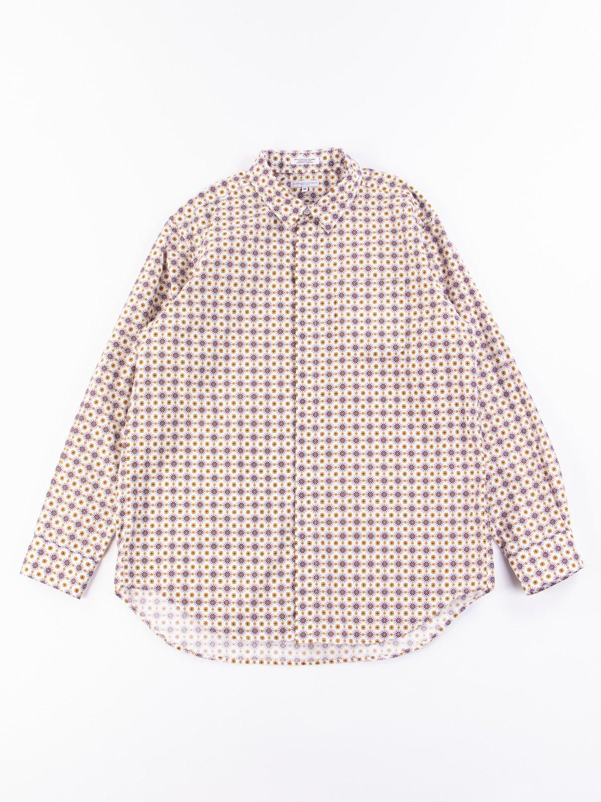 White Floral Foulard Print Short Collar Shirt - Image 1
