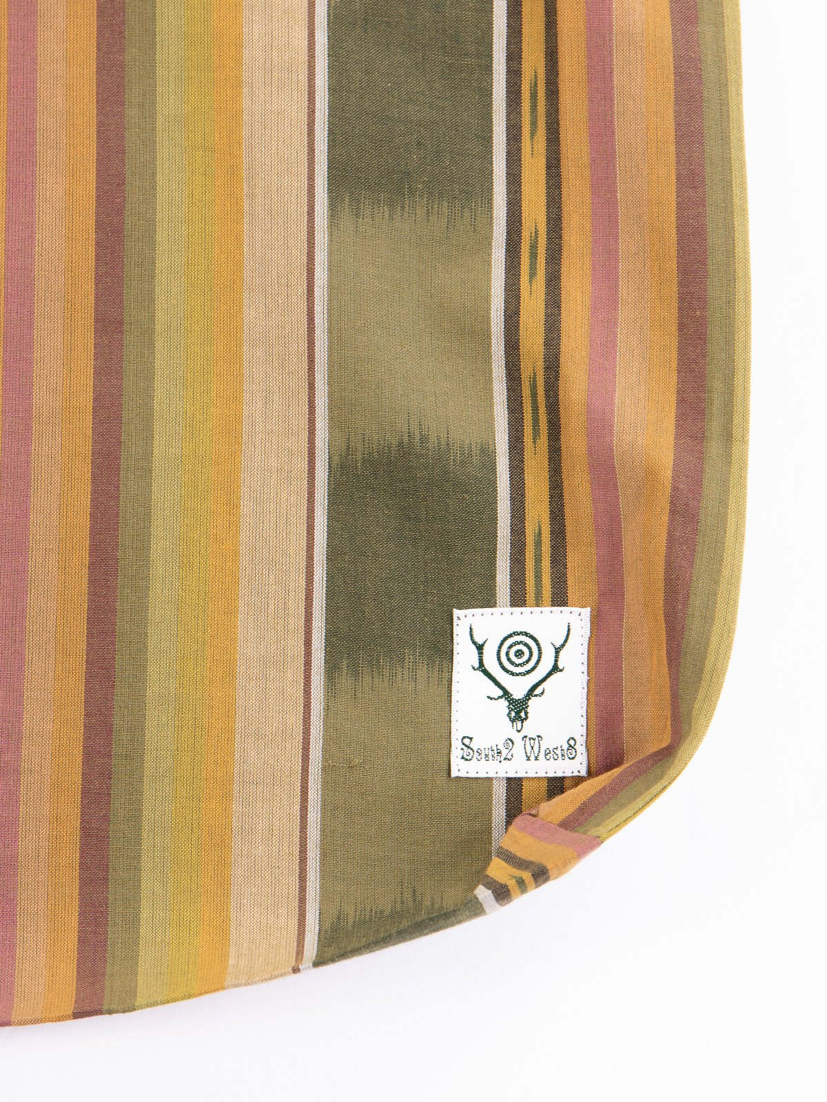 Green/Beige/Brown lkat Pattern Grocery Bag - Image 2