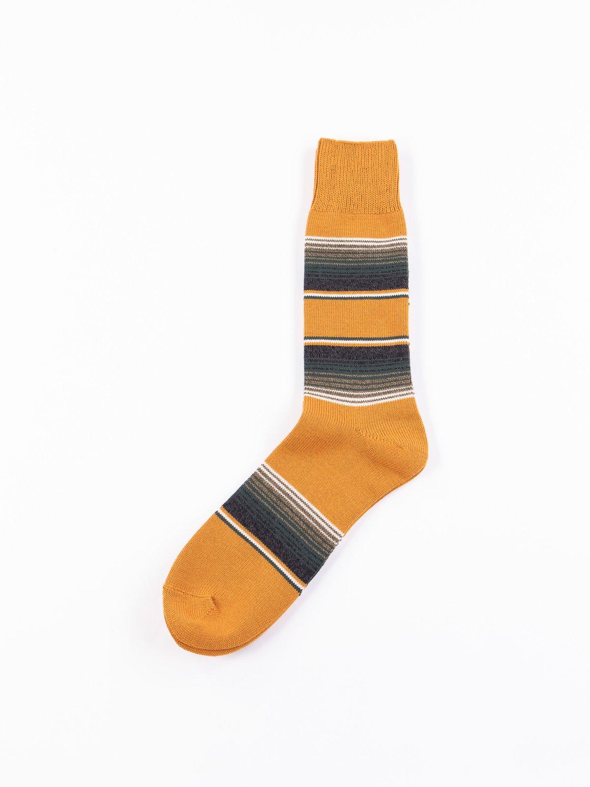 Dark Yellow Baja Cali Stripe Socks - Image 1