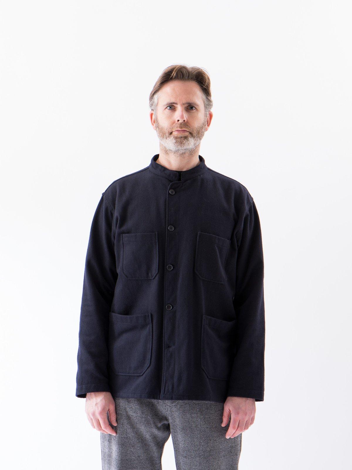 Dark Navy Wool Cotton Flannel Dayton Shirt - Image 2