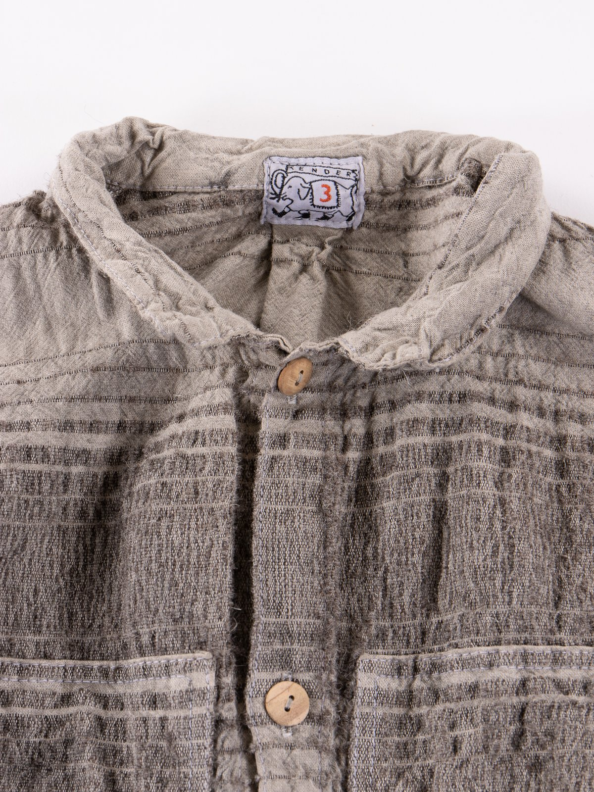 Indian Black Dye Doppler Stripe Calico Periscope Pocket Tail Shirt - Image 4