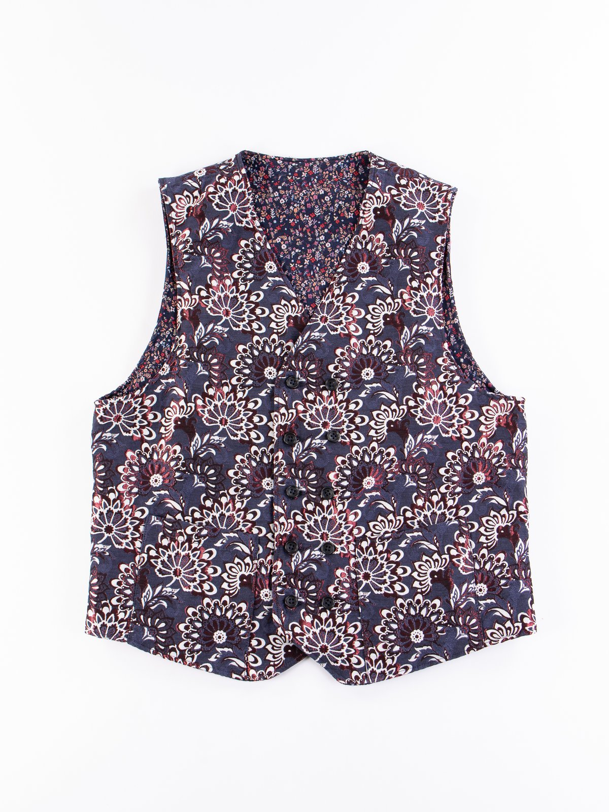 Navy Polyester Mini Floral Jacquard Reversible Vest - Image 5