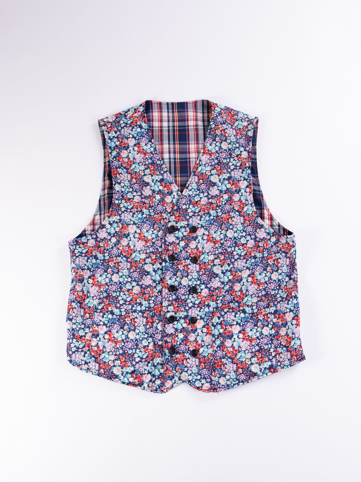 Navy/White/Red Plaid Poplin Reversible Vest - Image 6