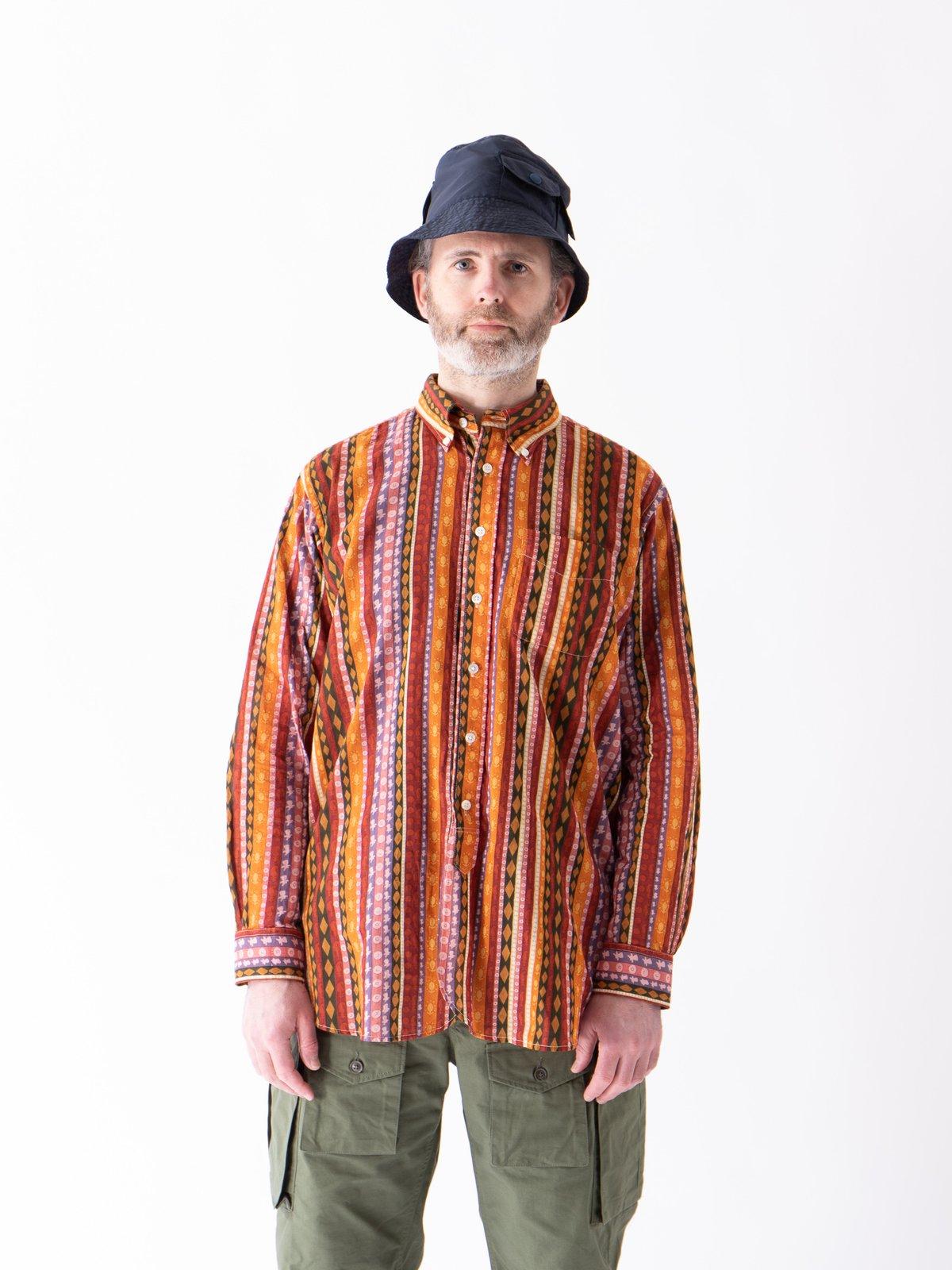 Orange Cotton Lawn Batik Stripe 19th Century BD Shirt - Image 2