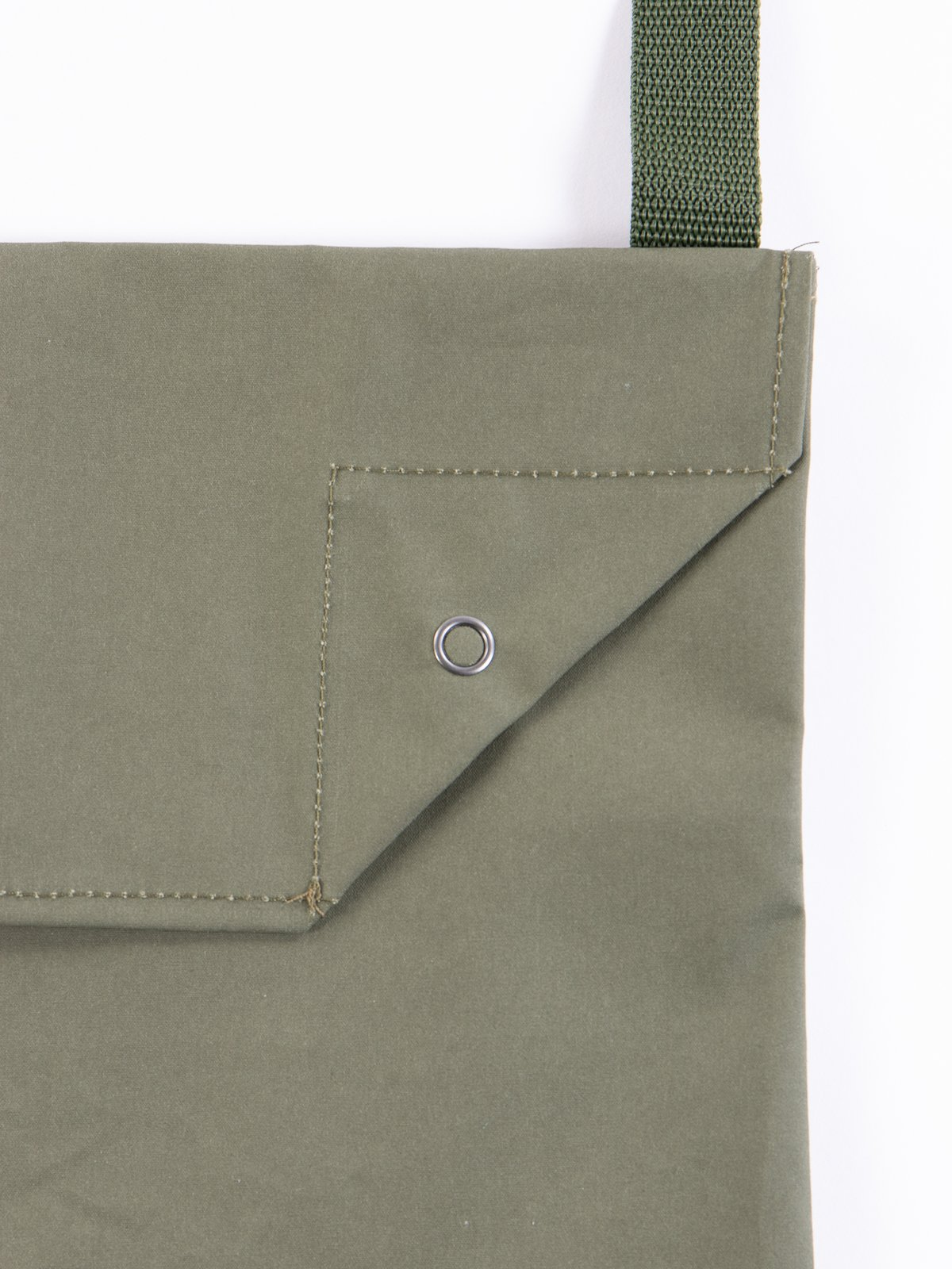 Olive Acrylic Coated Cotton Shoulder Pouch - Image 3