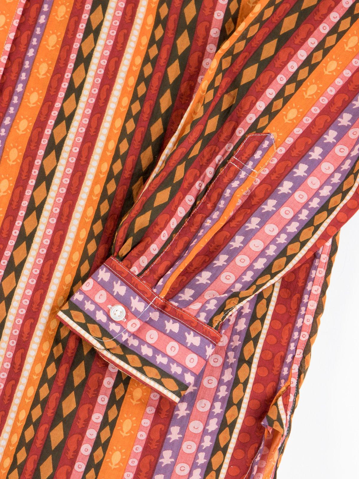 Orange Cotton Lawn Batik Stripe 19th Century BD Shirt - Image 5