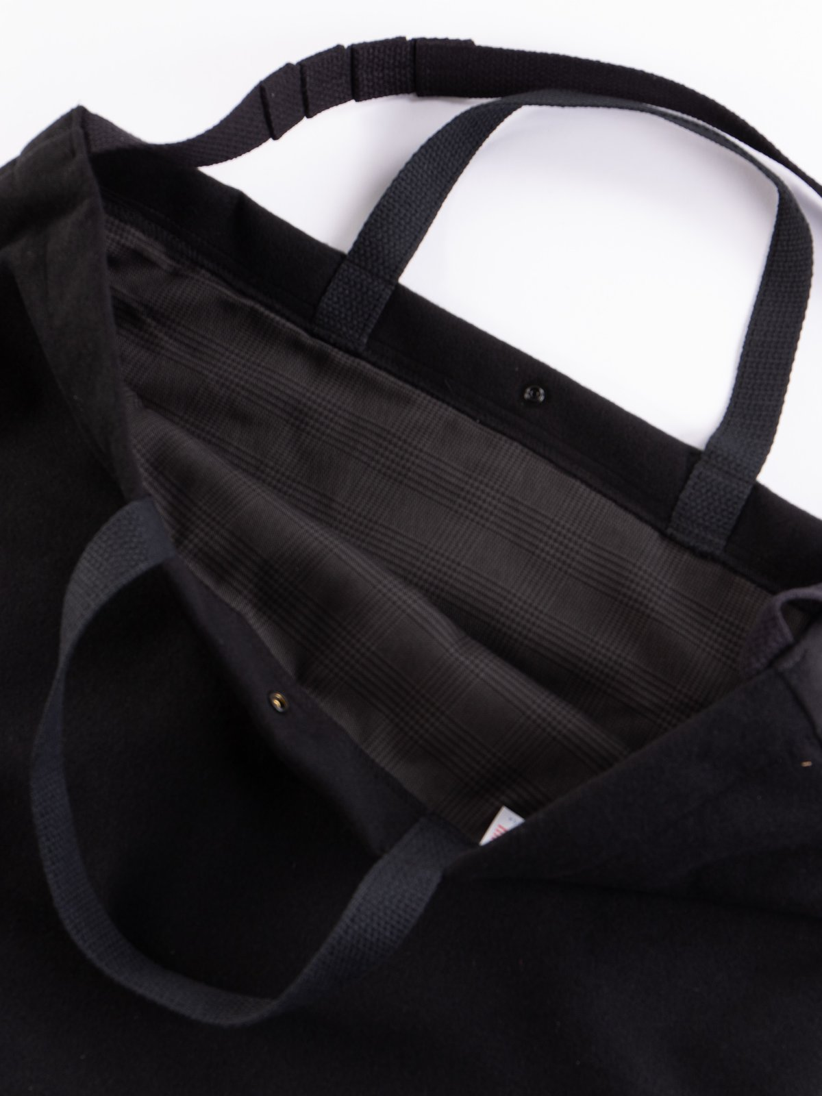 Black Polyester Fake Melton Carry All Tote - Image 3