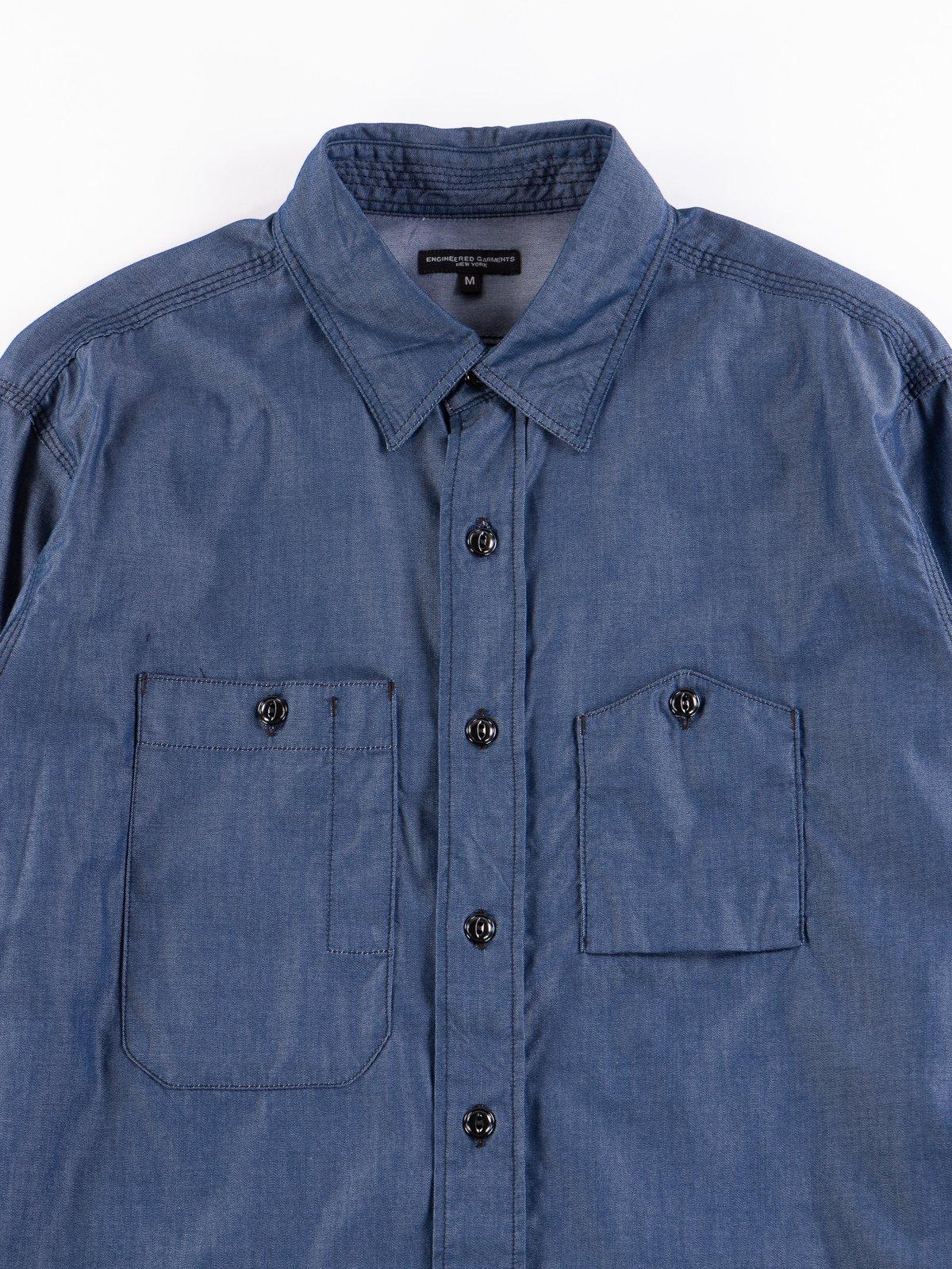 Dark Blue Light Weight Denim Work Shirt - Image 3