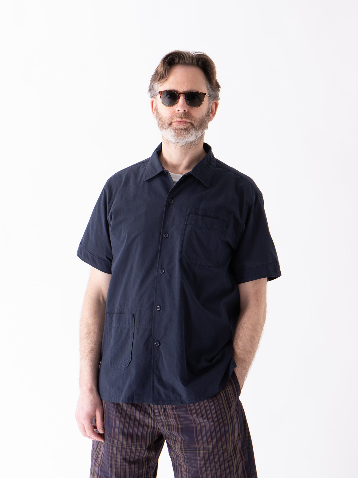 Navy Solid Cotton Lawn Camp Shirt  - Image 2
