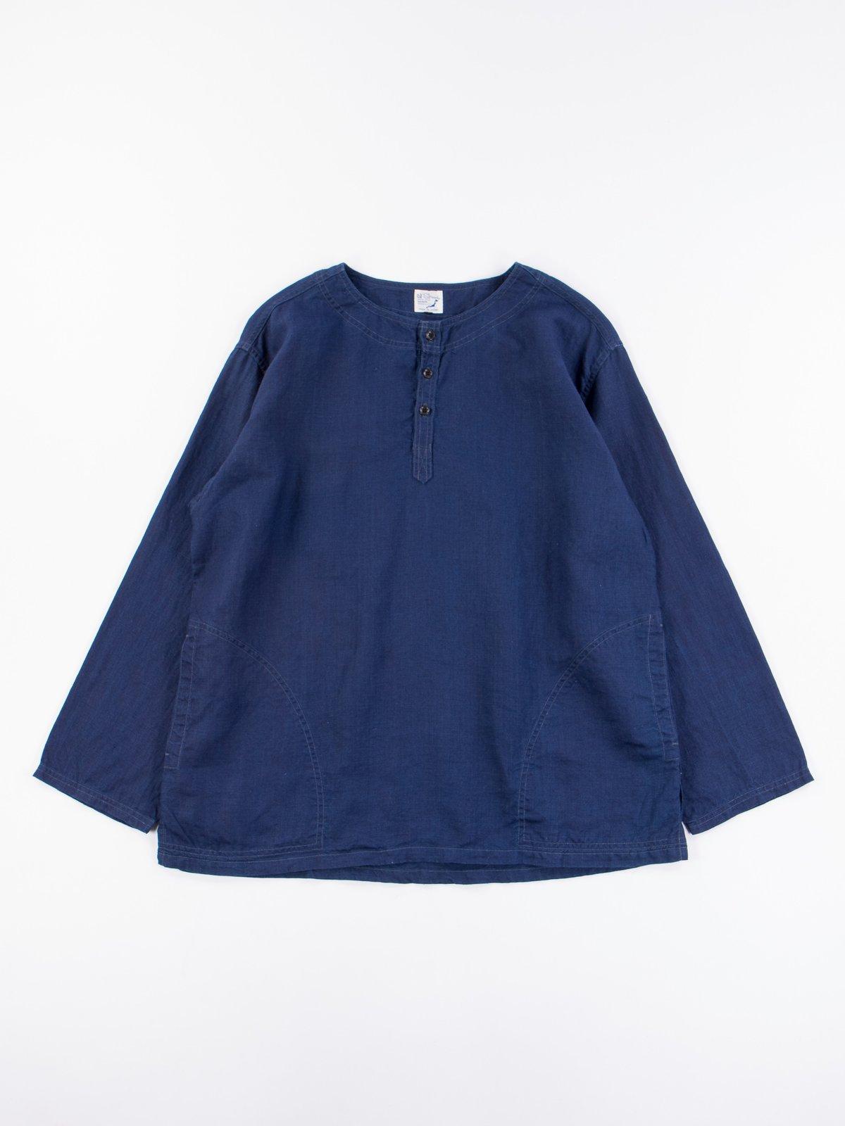 Indigo Linen Pullover Shirt - Image 1