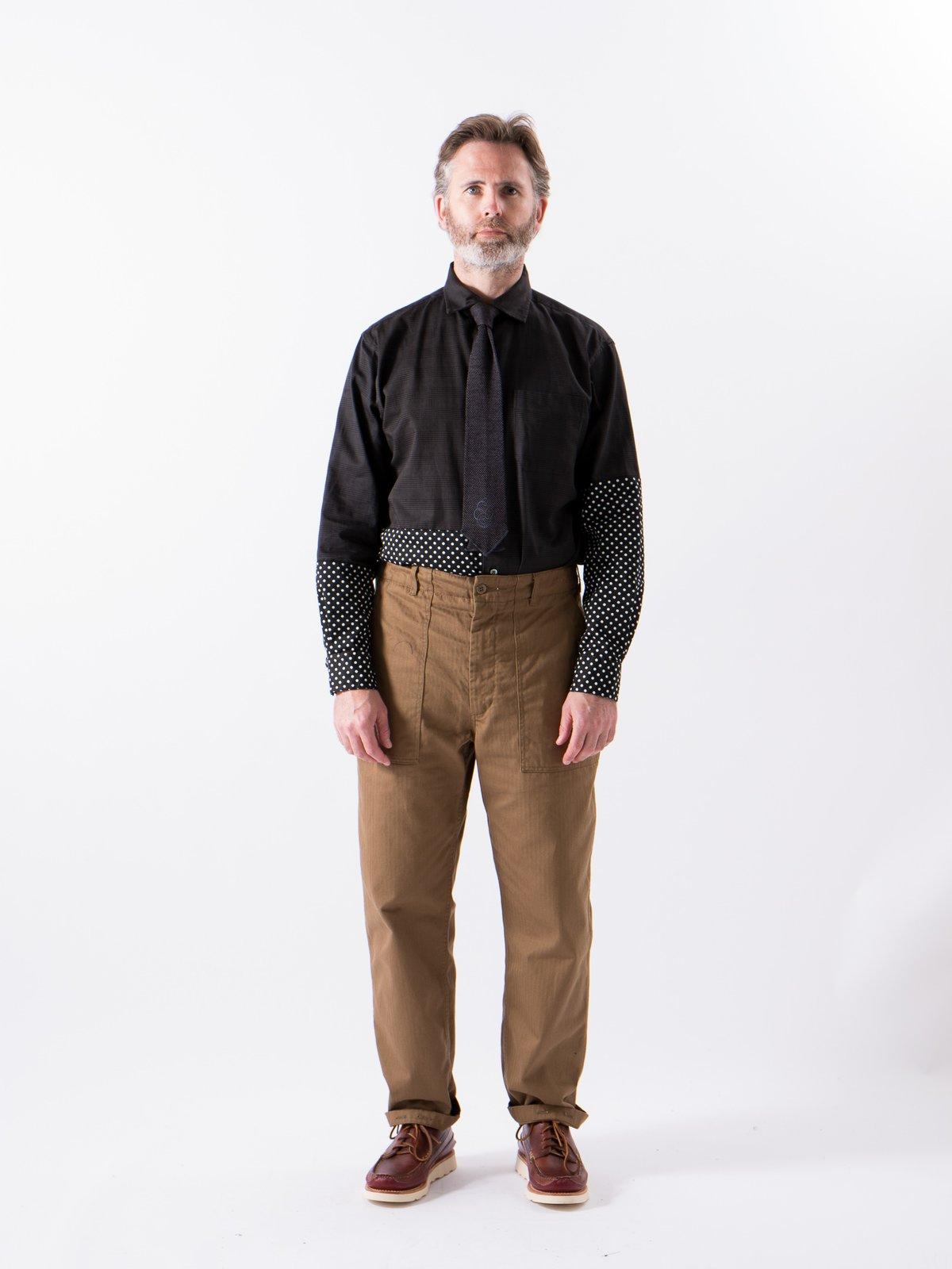 Grey Twill Printed Glen Plaid Spread Collar Shirt - Image 2