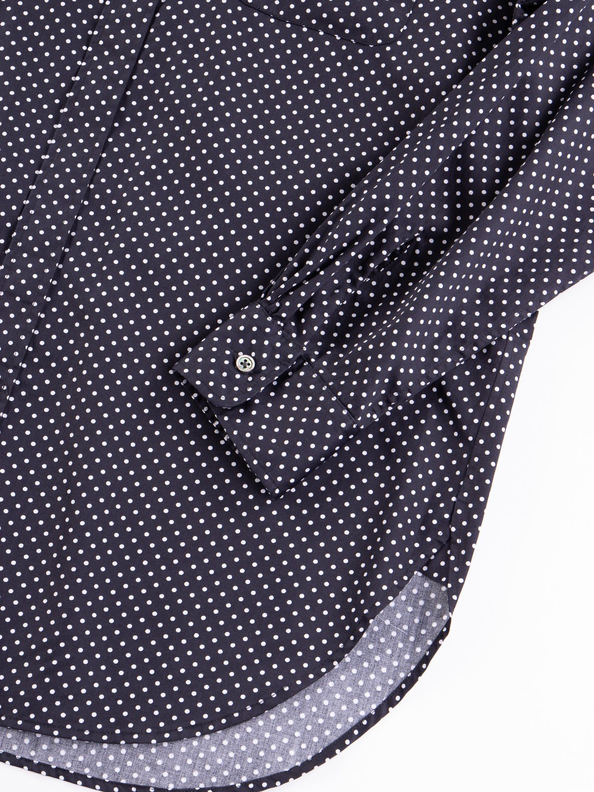 Navy Cotton Big Polka Dot Broadcloth Rounded Collar Shirt - Image 4