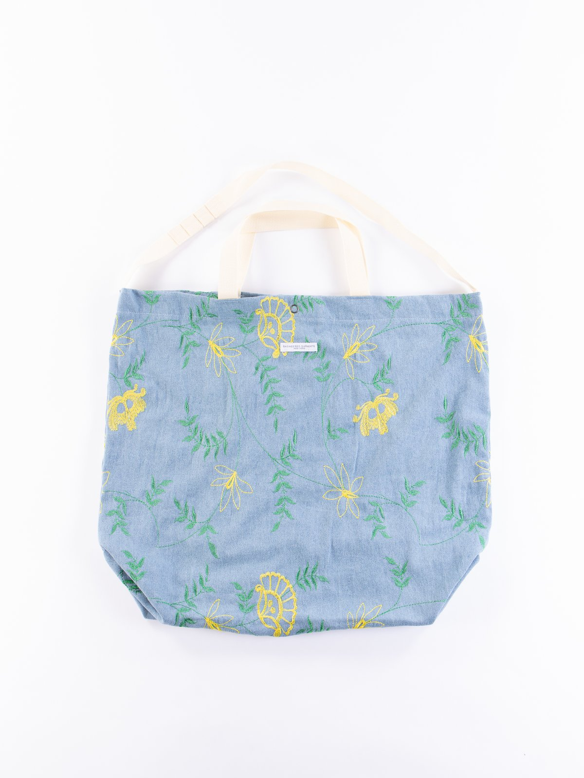 Light Blue Denim Floral Embroidery Carry All Tote - Image 1