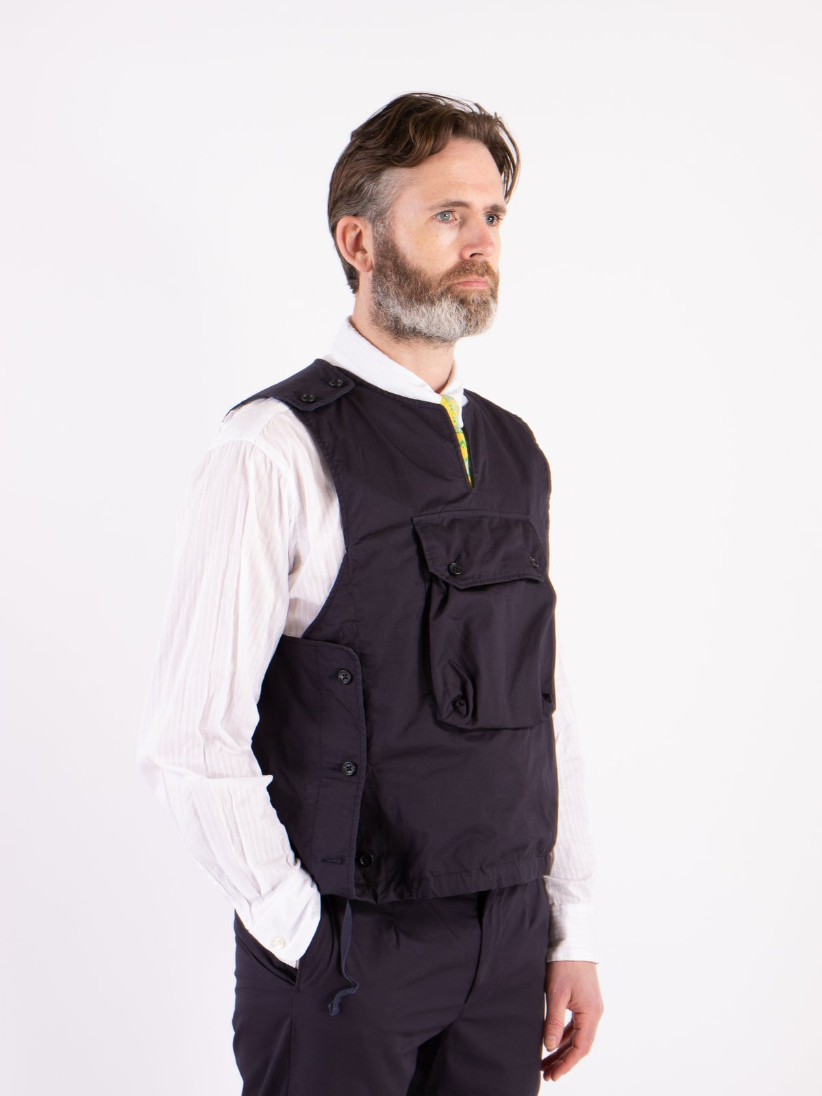 Dark Navy High Count Twill Cover Vest - Image 2