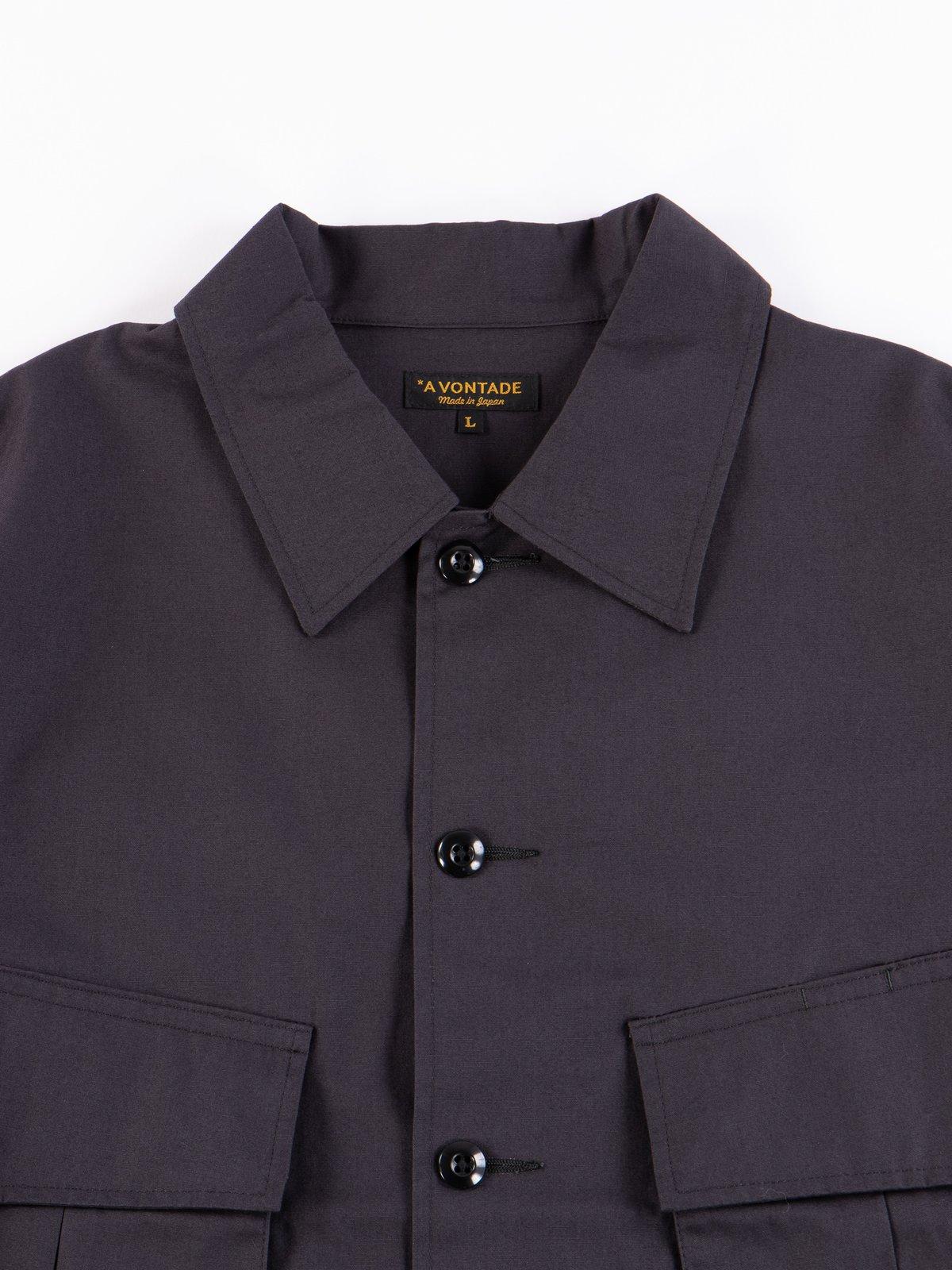 Fade Black Selvedge Poplin Cotton Combat Short Jacket - Image 3
