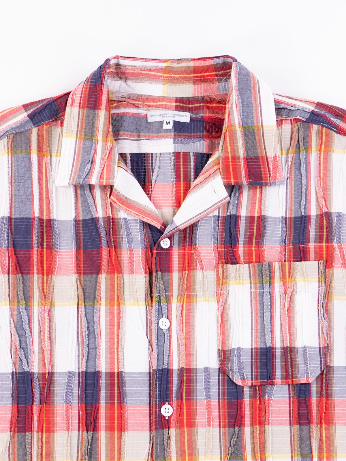 Red/White Cotton Crepe Check Camp Shirt - Image 4