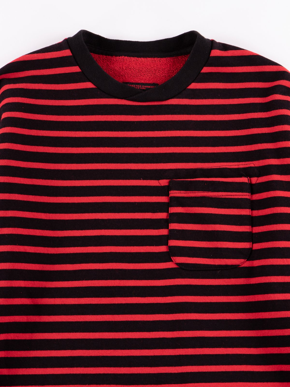 Black/Red Stripe 20oz French Terry Long Sleeve Crew Neck - Image 3