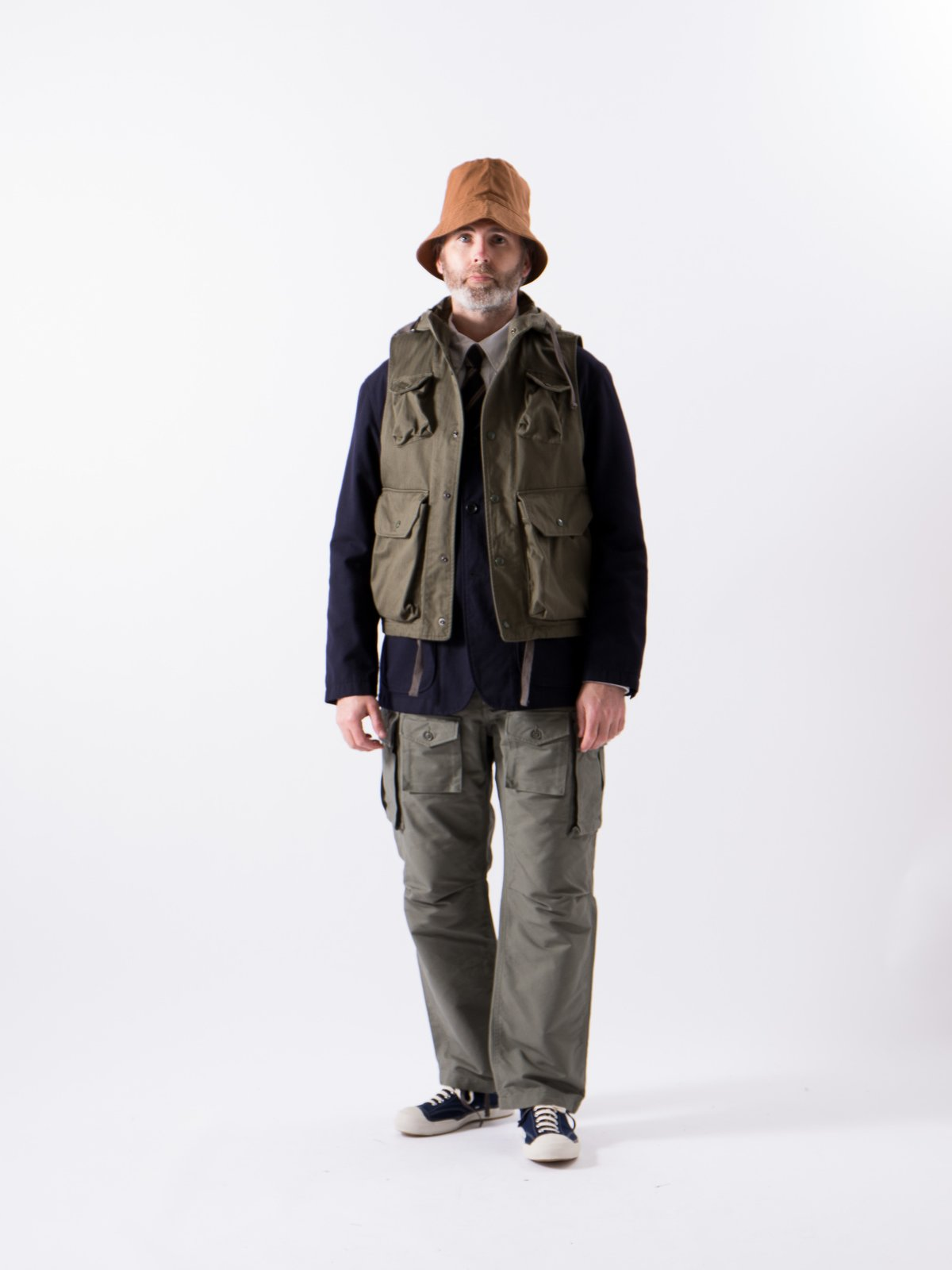 Olive Cotton Herringbone Twill Field Vest - Image 2