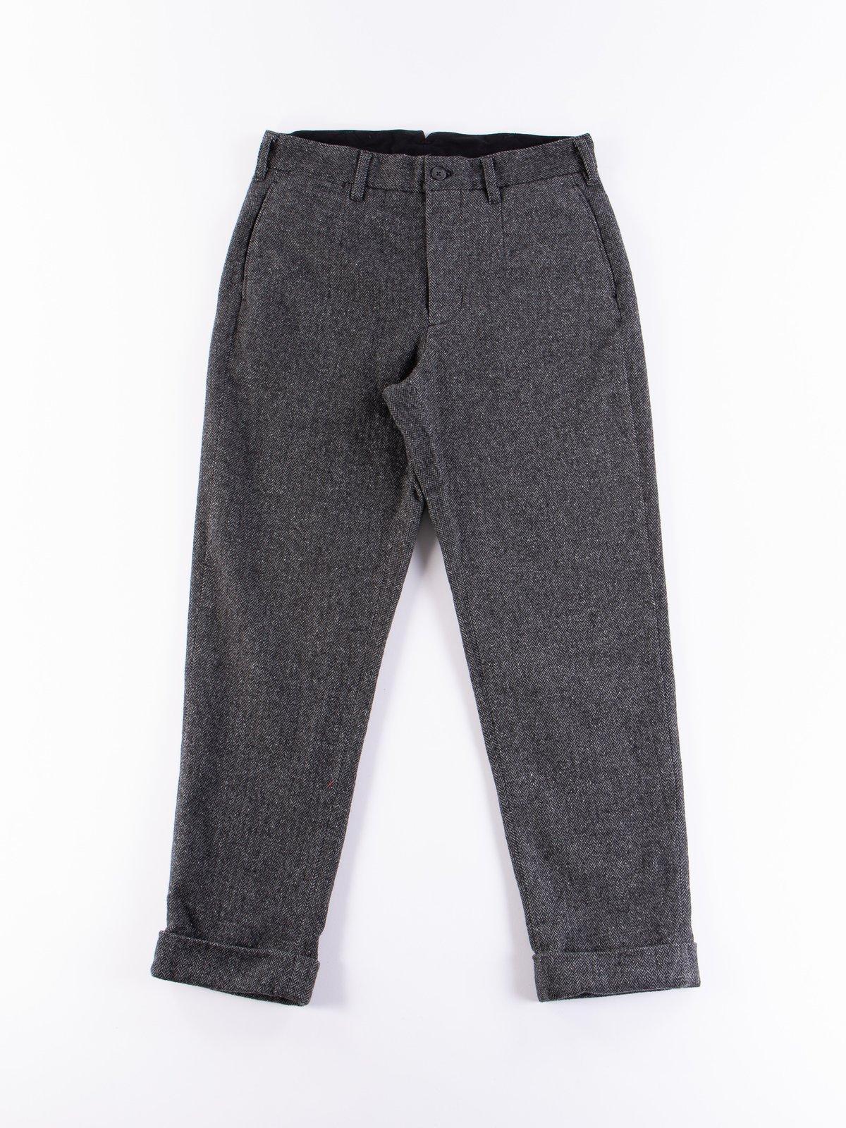 Grey Poly Wool Herringbone Andover Pant - Image 1