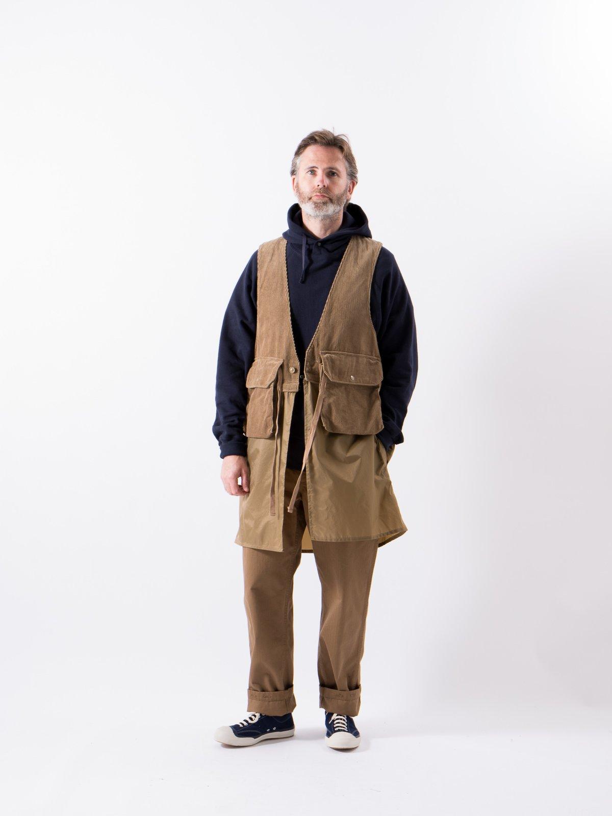 Khaki 8W Corduroy Long Fowl Vest - Image 2