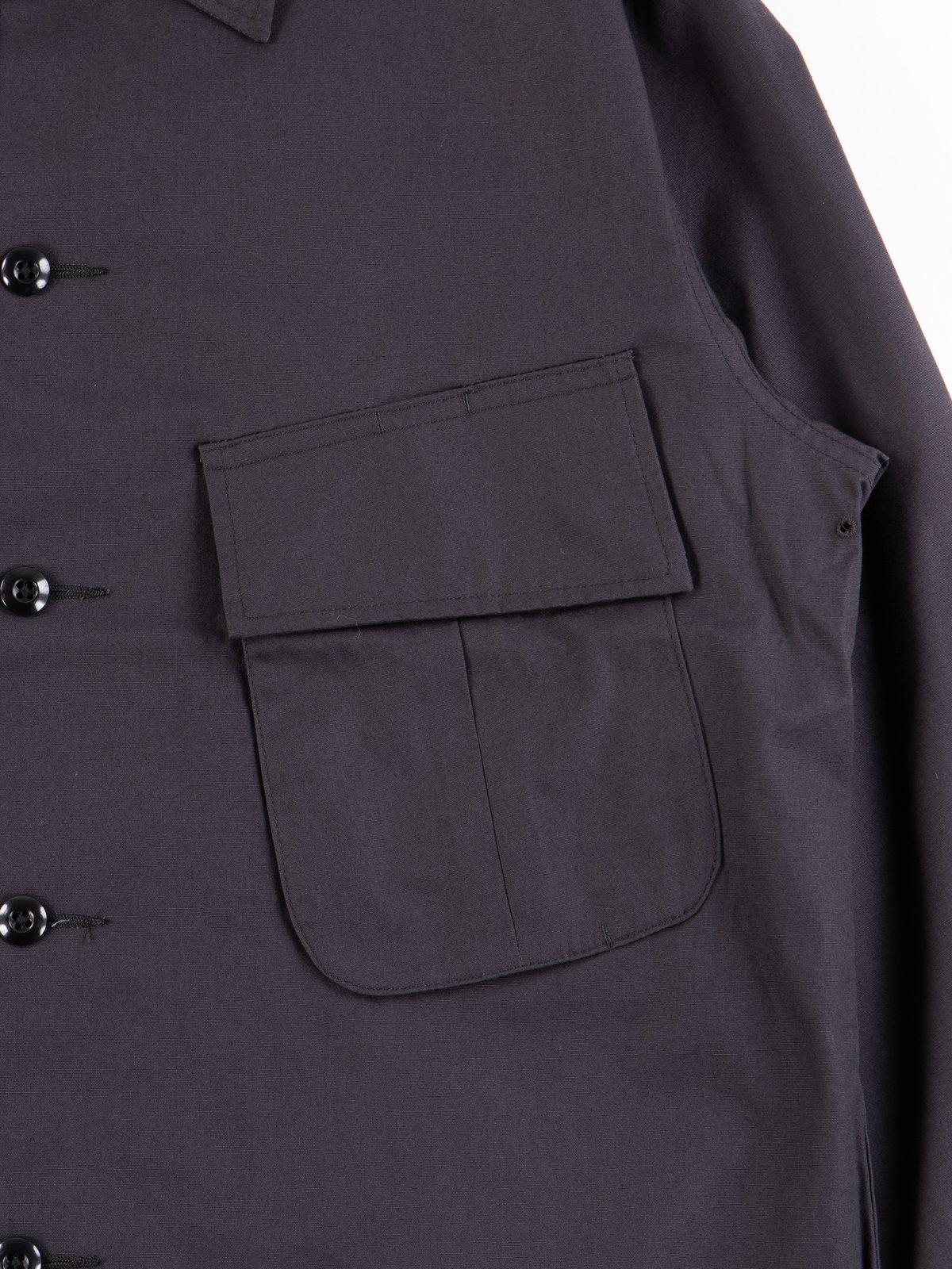 Fade Black Selvedge Poplin Cotton Combat Short Jacket - Image 4